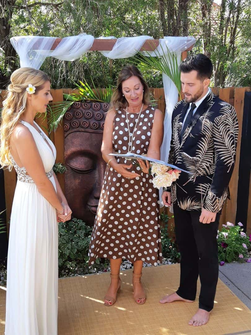 Bride and Groom with celebrant Bali style Wedding