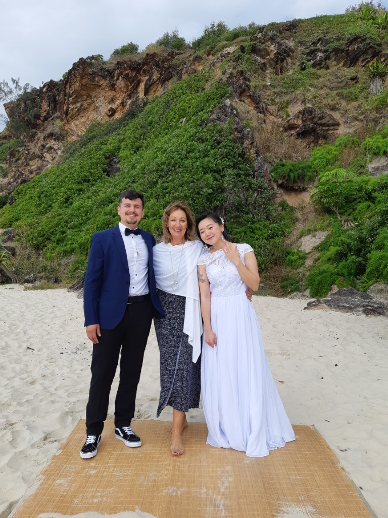 Bride and Groom with celebrant Bali style Wedding